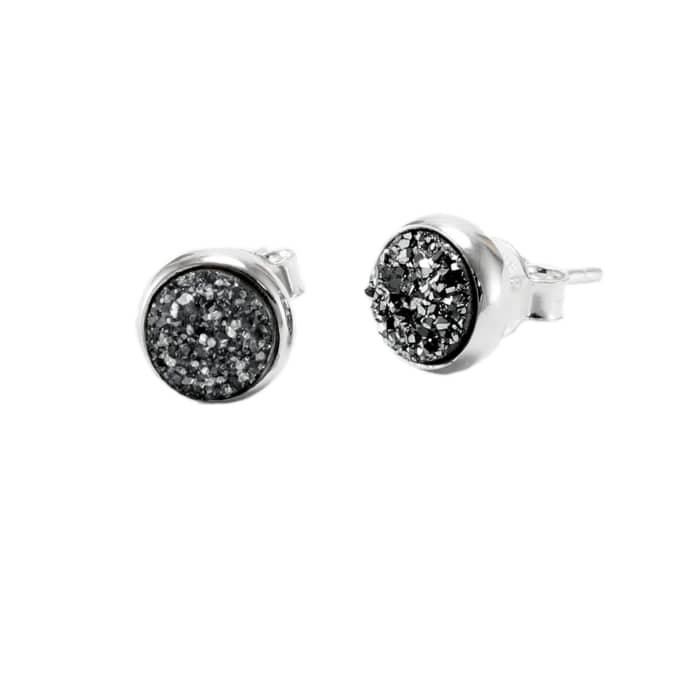 Sterling Silver & Black Druzy Quartz Stud Earrings