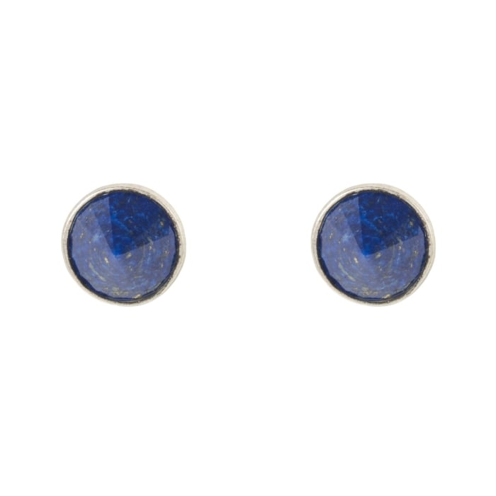 Pia Gemstone Spike Stud Earrings Silver Lapis Lazuli
