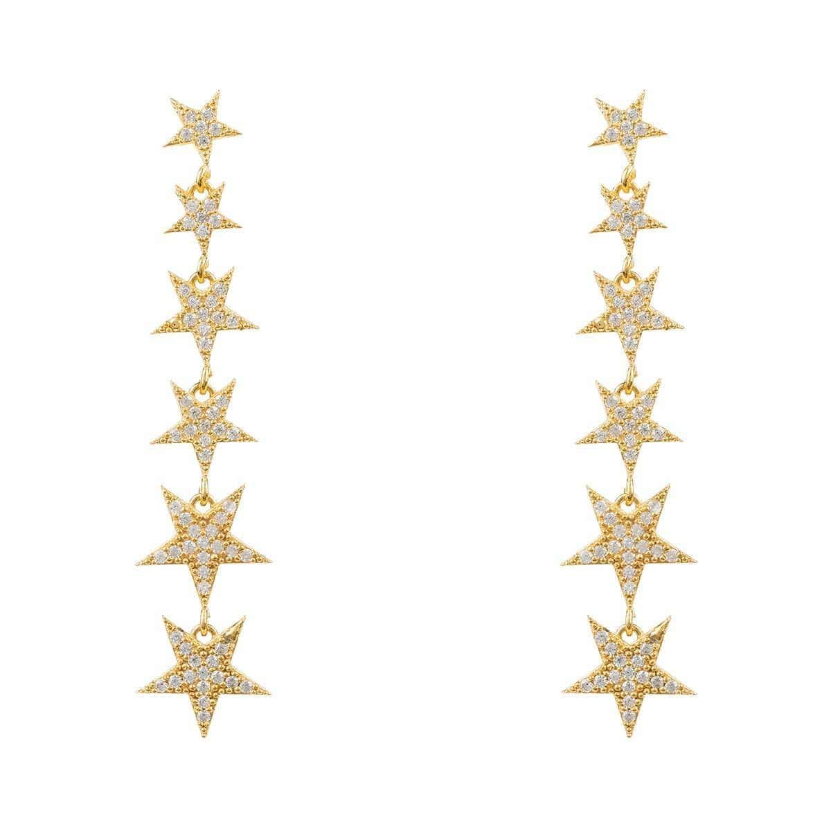 Yellow Gold Plated Graduated Star Drop Earrings