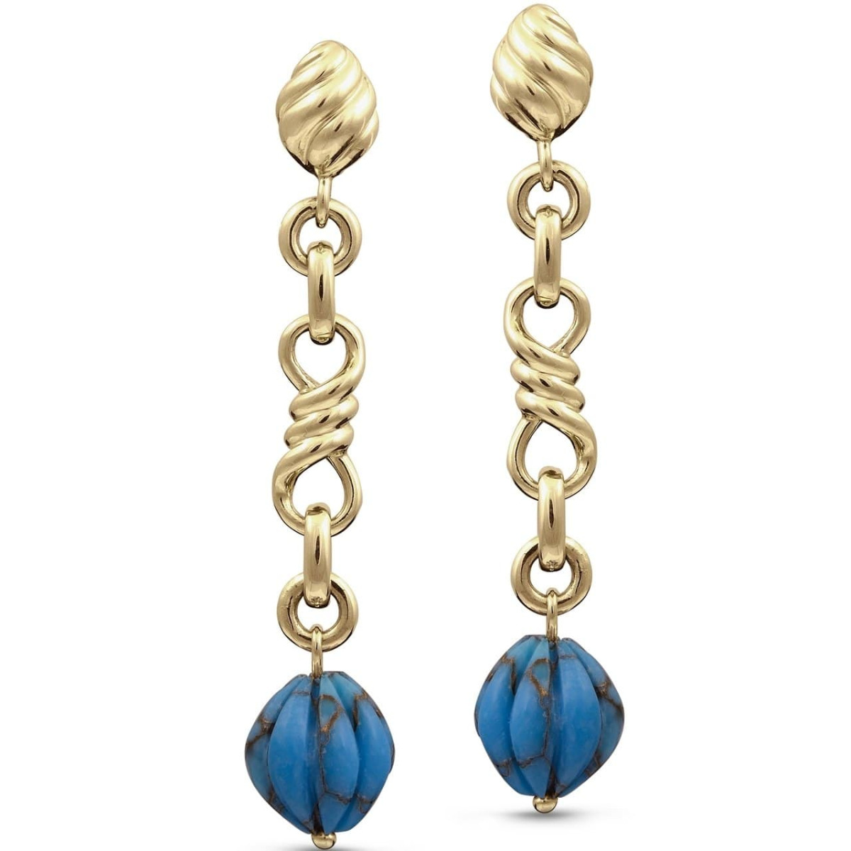 Yellow Gold Plated Firefly Turquoise Dangle Earrings