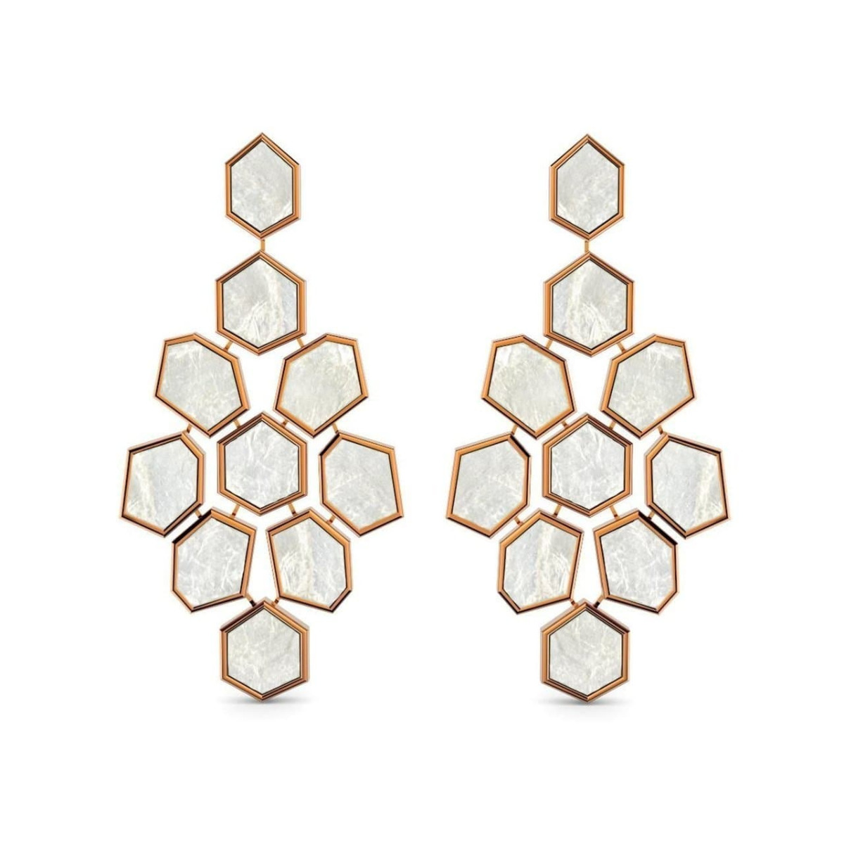 Rose Gold & Mother Of Pearl Earrings