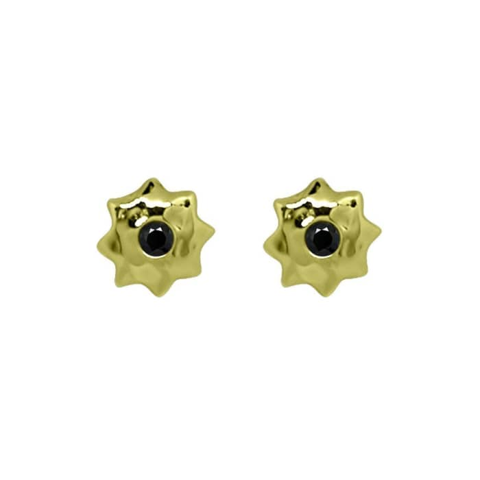 Gold & Black Spinel Moroccan Star Stud Earrings