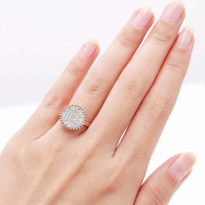 14kt Gold Full Diamond Pave Round Engagement Ring