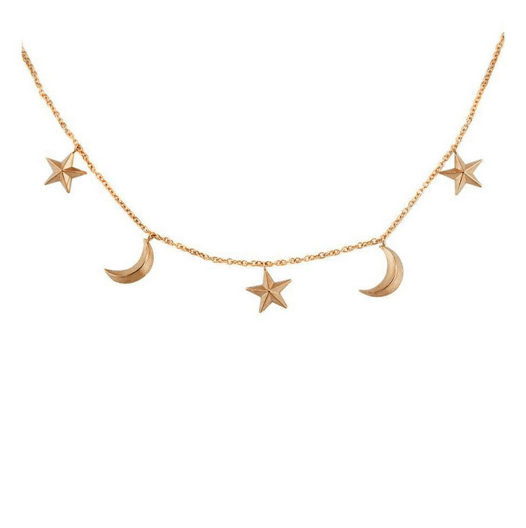 Portobello Rose Gold Star and Moon Starry Night Necklace