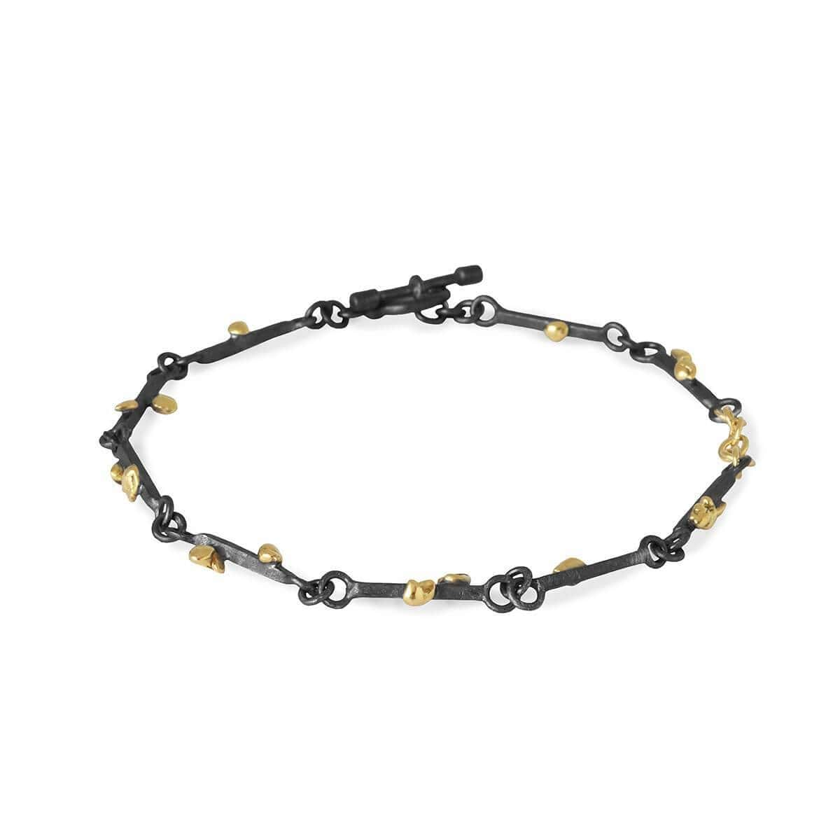Black Patinated Silver & 18kt Raw Gold Grain Bracelet