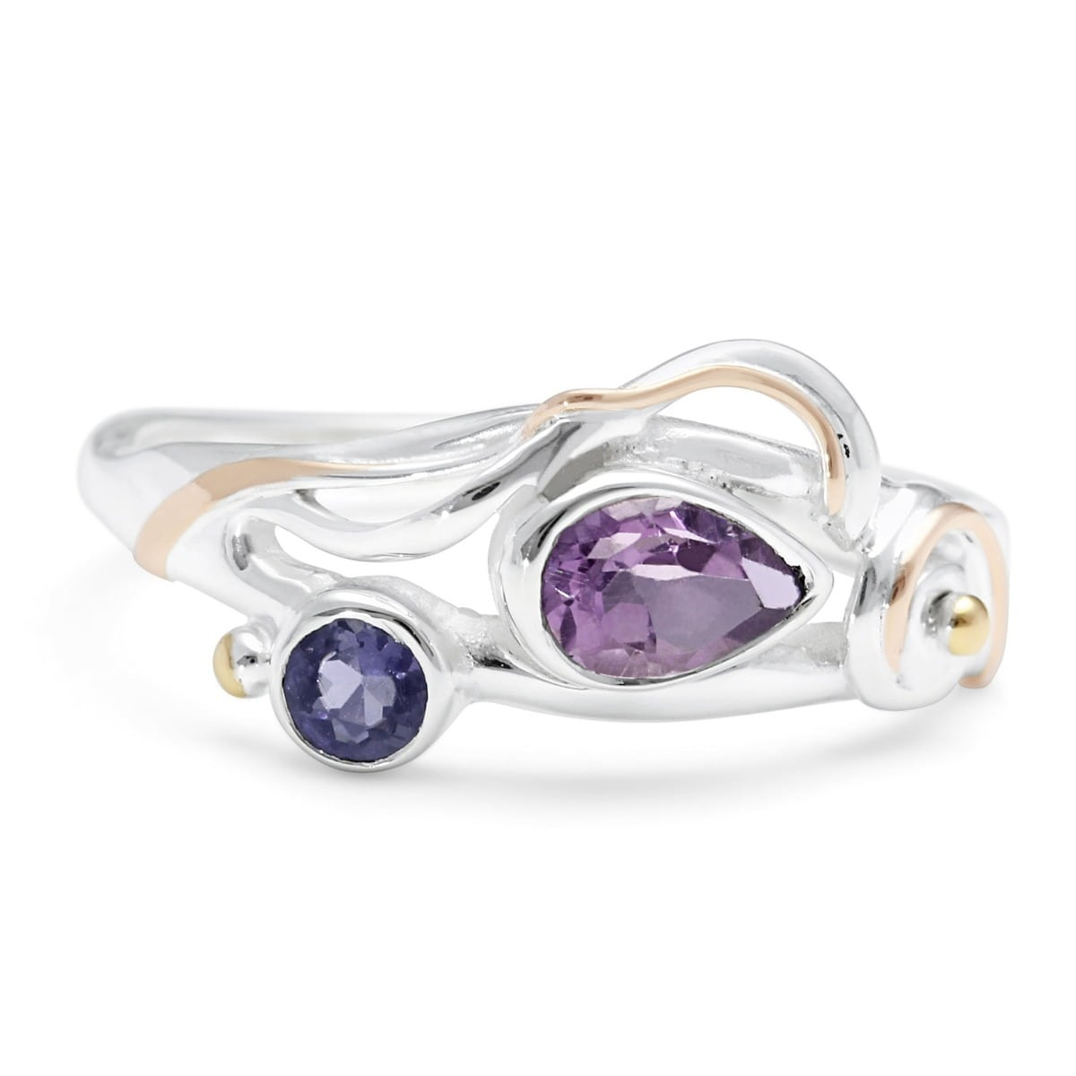 Sterling Silver Ring With Faceted Teardrop Amethyst & Lolite