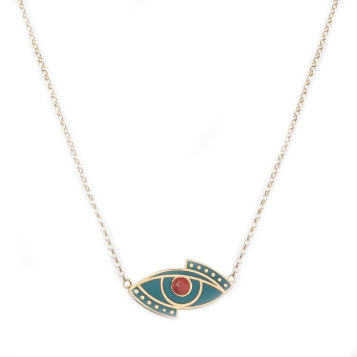 24kt Yellow Gold Plated Evil Eye Necklace