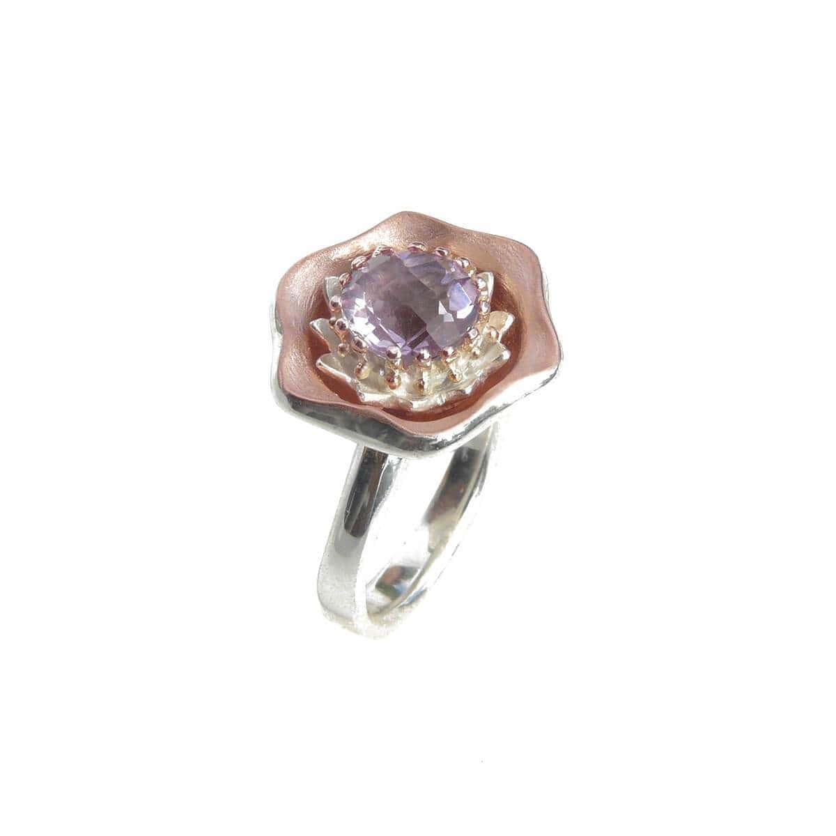 Sterling Silver Evening Sky Ring With Rose Gold Details
