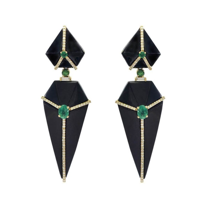 Cubist Onyx Earrings With Emeralds And Diamonds