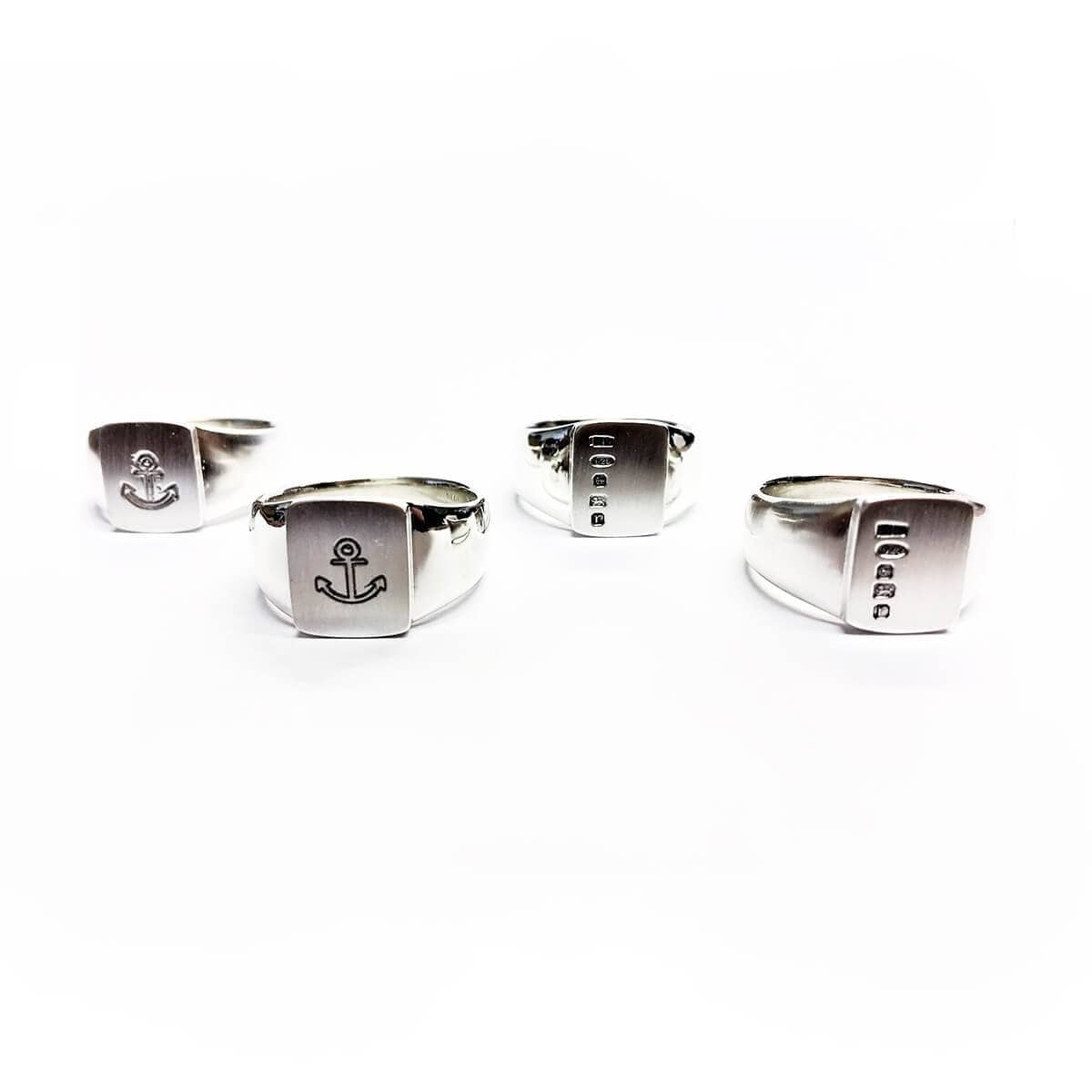 Sterling Silver Signet Rings With Brushed Imprinted Faces