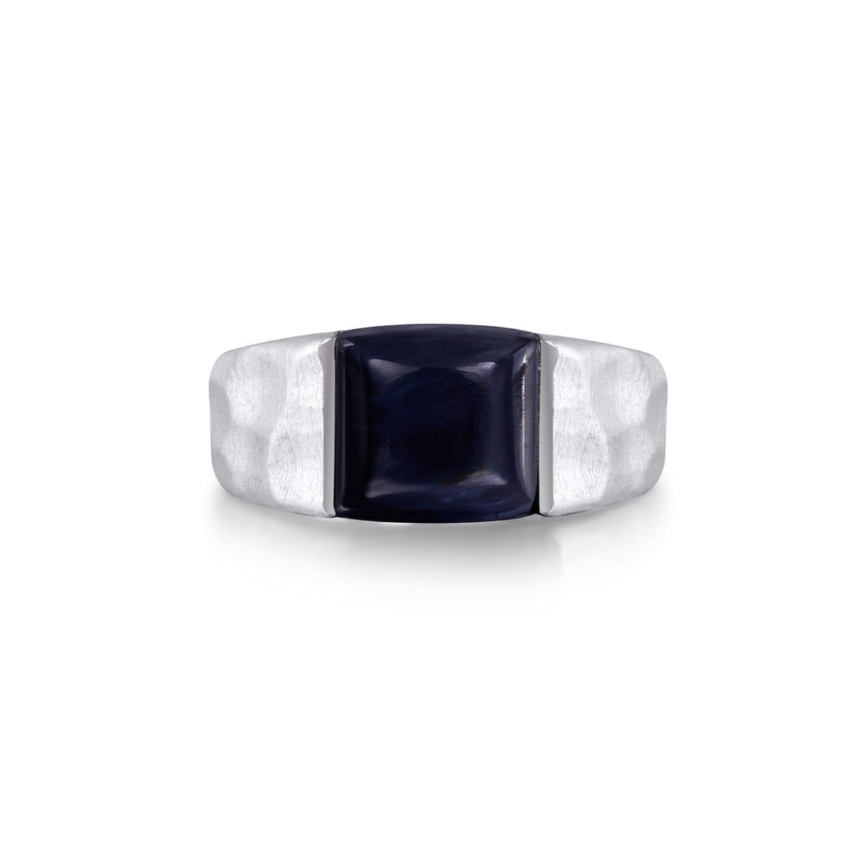 Rhodium Plated Sterling Silver Blue Pietersite Stone Hammered Texture Ring