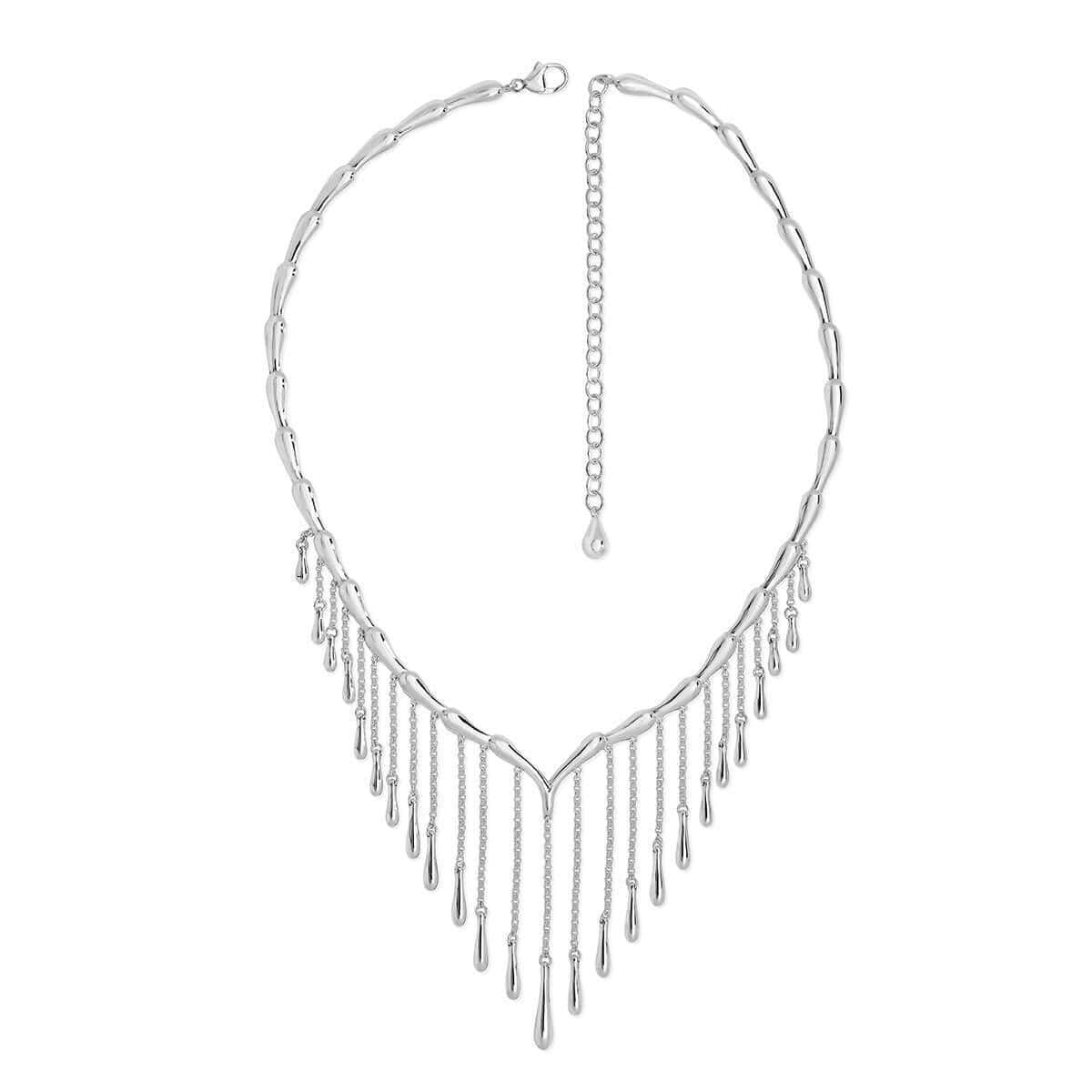Rhodium Plated Waterfall Necklace