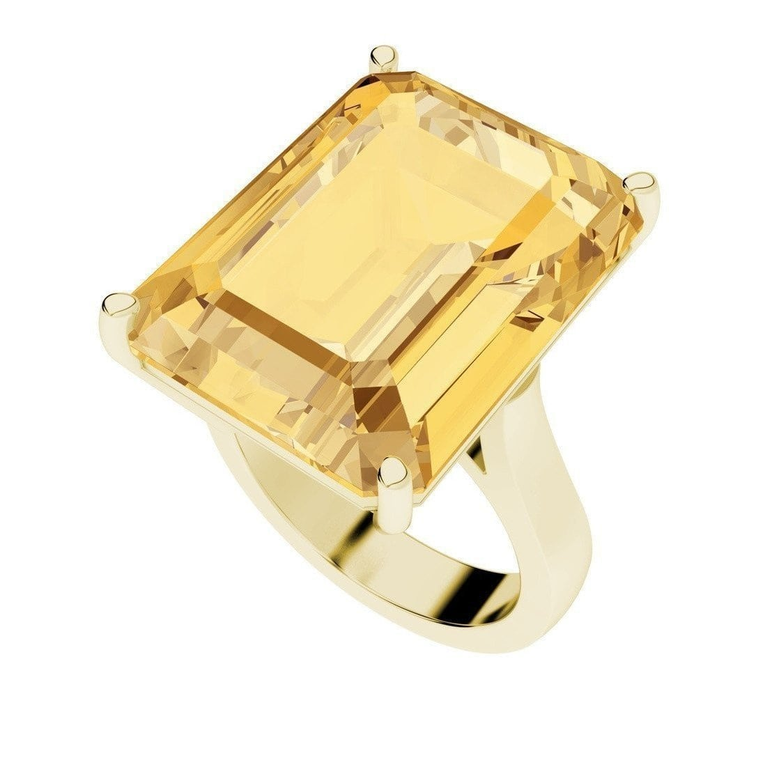 Citrine Emerald Cut 9kt Yellow Gold Cocktail Ring