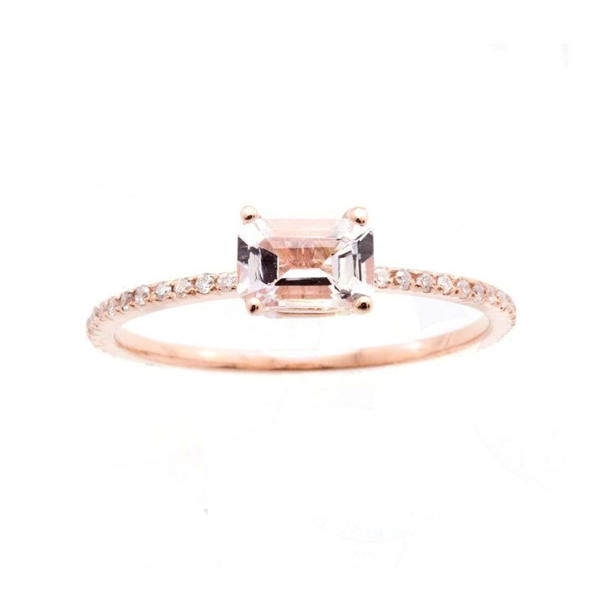 Emerald Cut Pink Morganite Ring