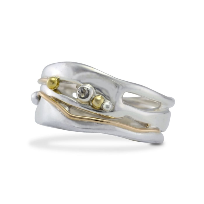 Sterling Silver Organic Ring With Gold Fill Detail & Diamond