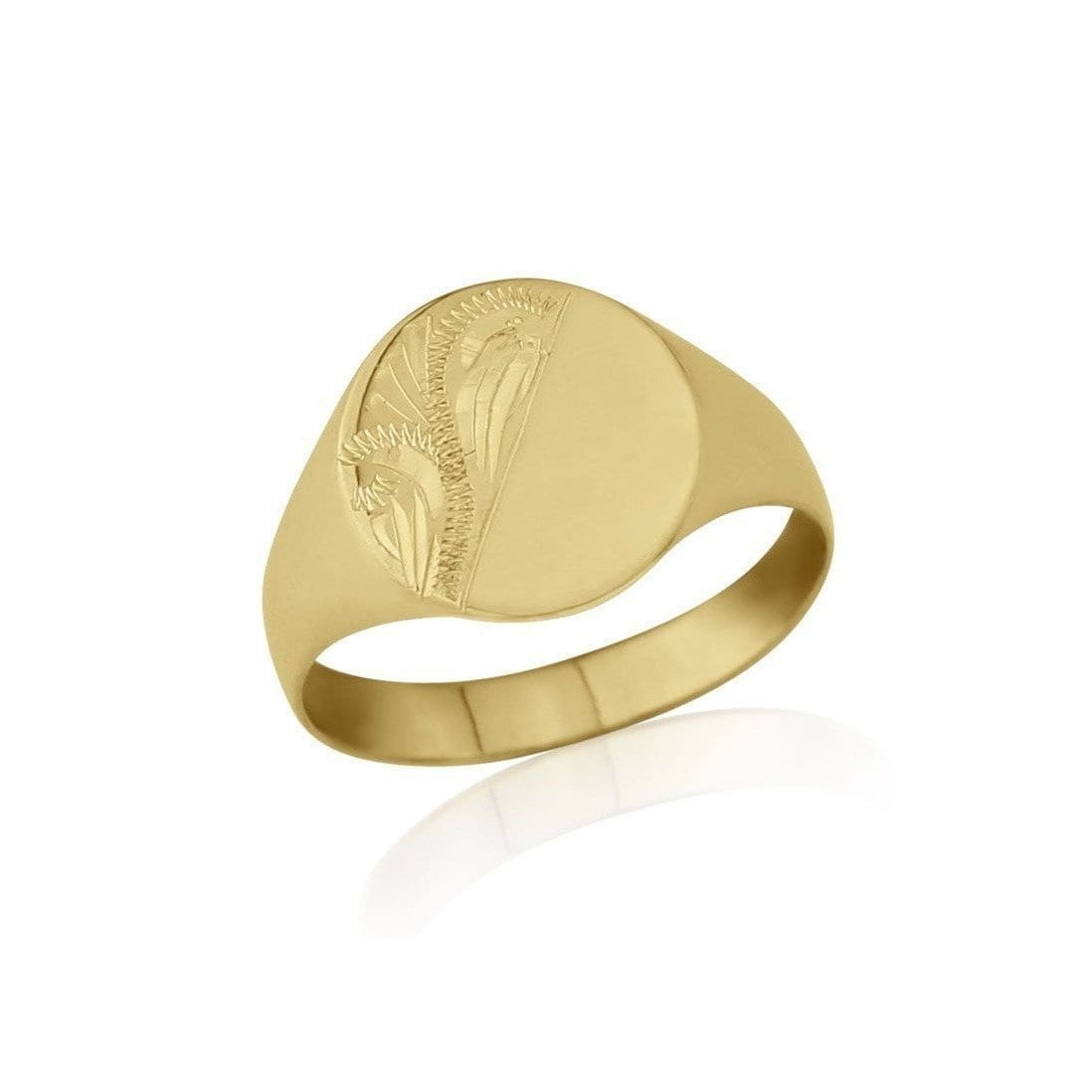 9kt Yellow Gold Lightweight Oval-Shaped Engraved Signet Wedding Ring