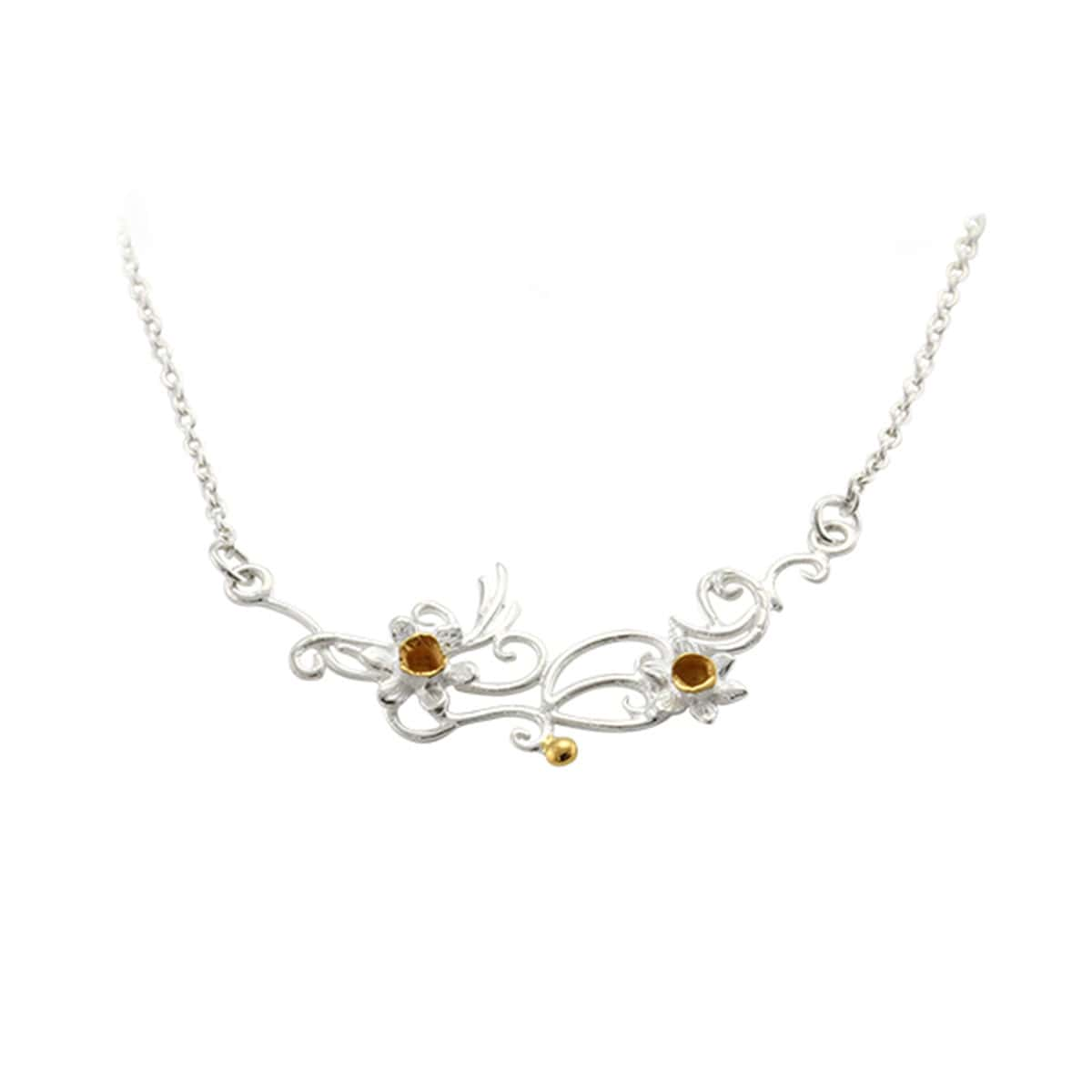 Silver and Gold Plated Daffodil Flower Necklace
