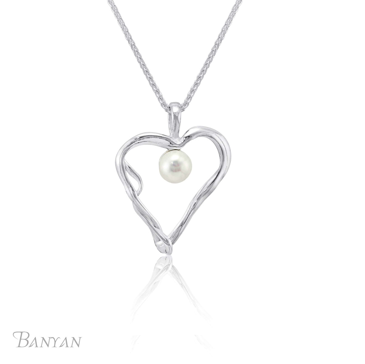 Sterling Silver & White Pearl Quirky Heart Pendant Necklace