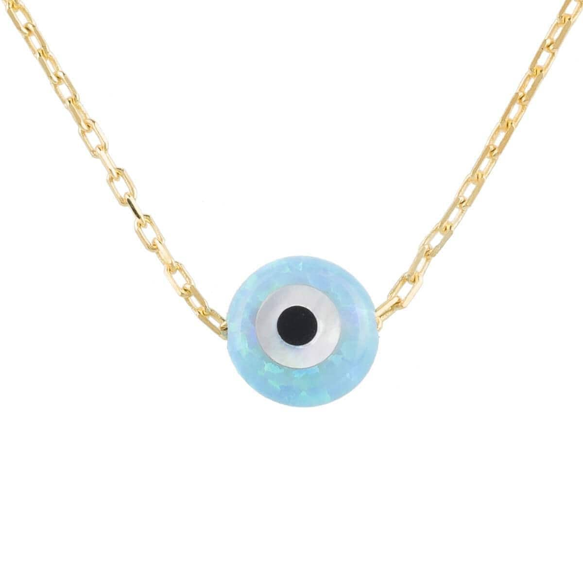 Yellow Gold Plated Mini Opalite Evil Eye Necklace