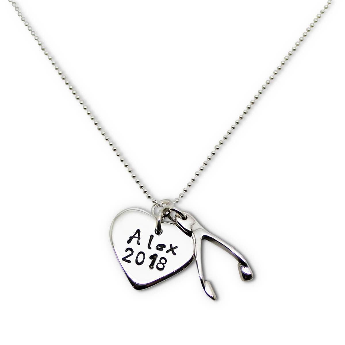 Personalised Sterling Silver Lucky Heart & Wishbone Necklace