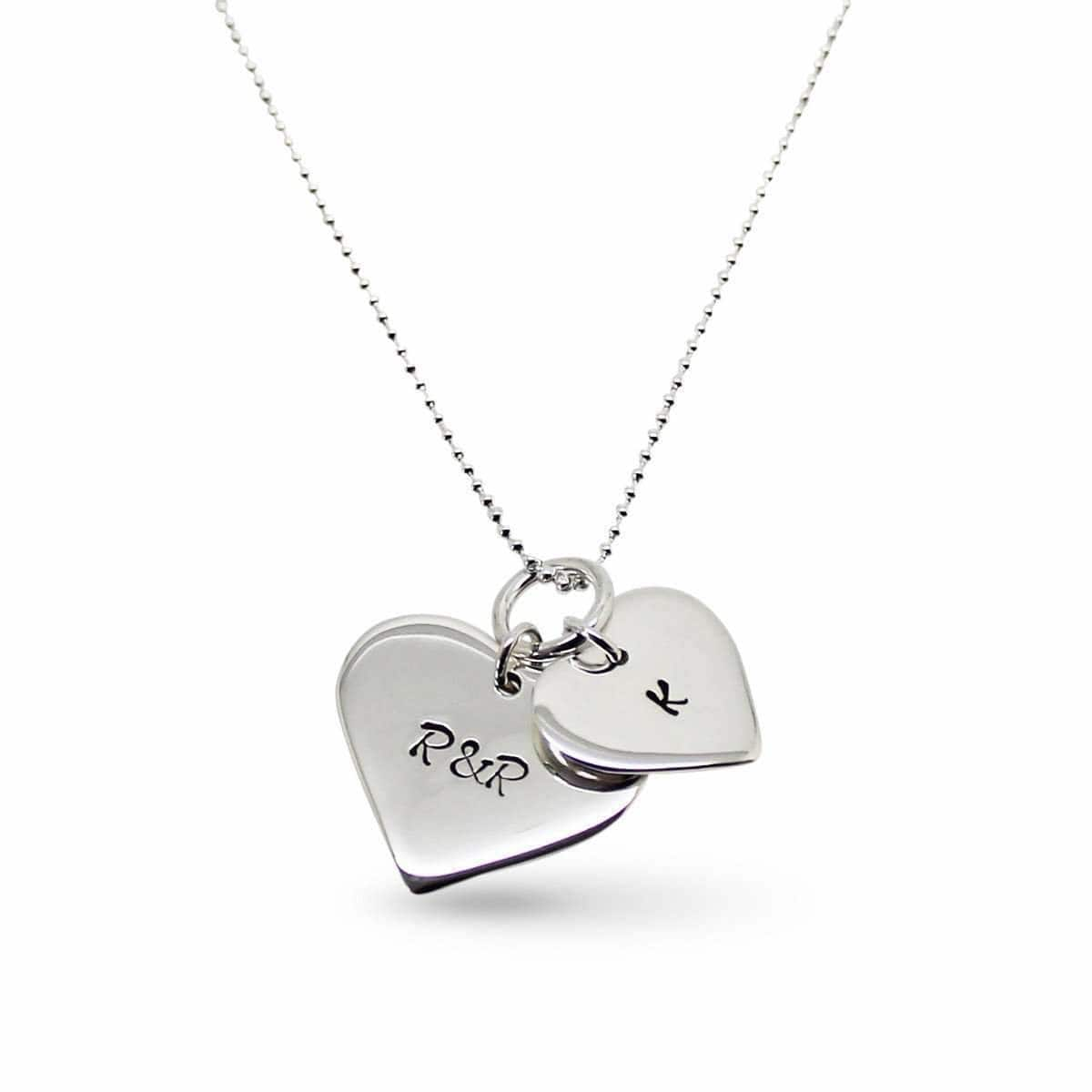 Sterling Silver Personalised Double Love Heart Necklace