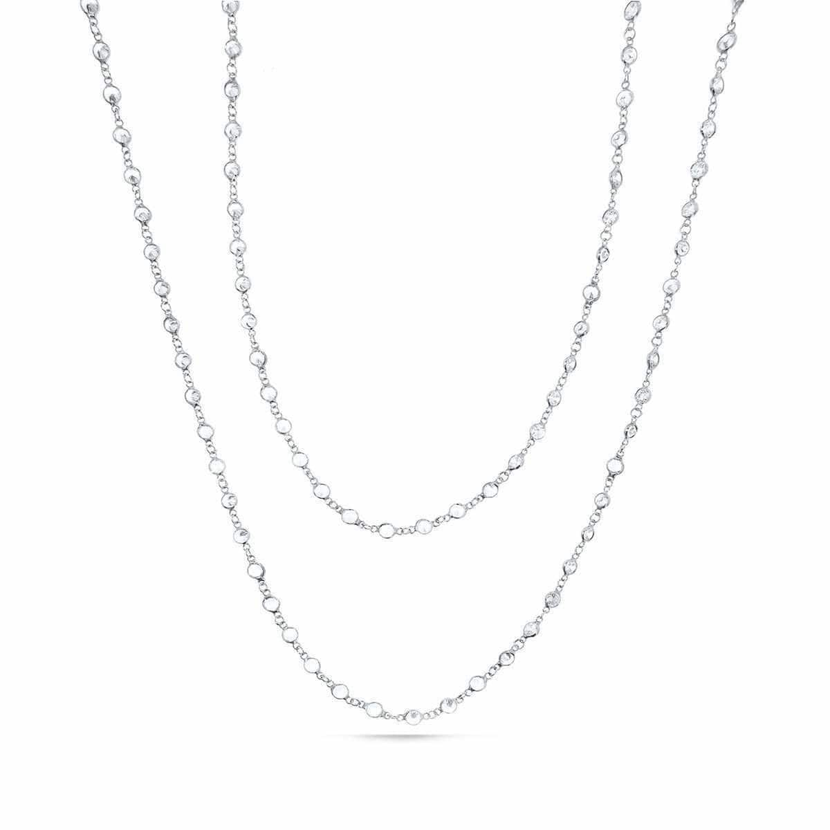 Rhodium Plated Swarovski Long Necklace With 3.5mm Crystals