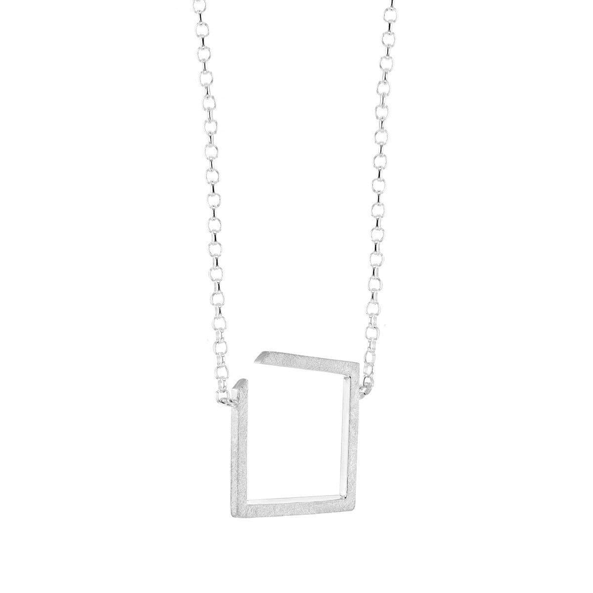Square Silver Necklace Large