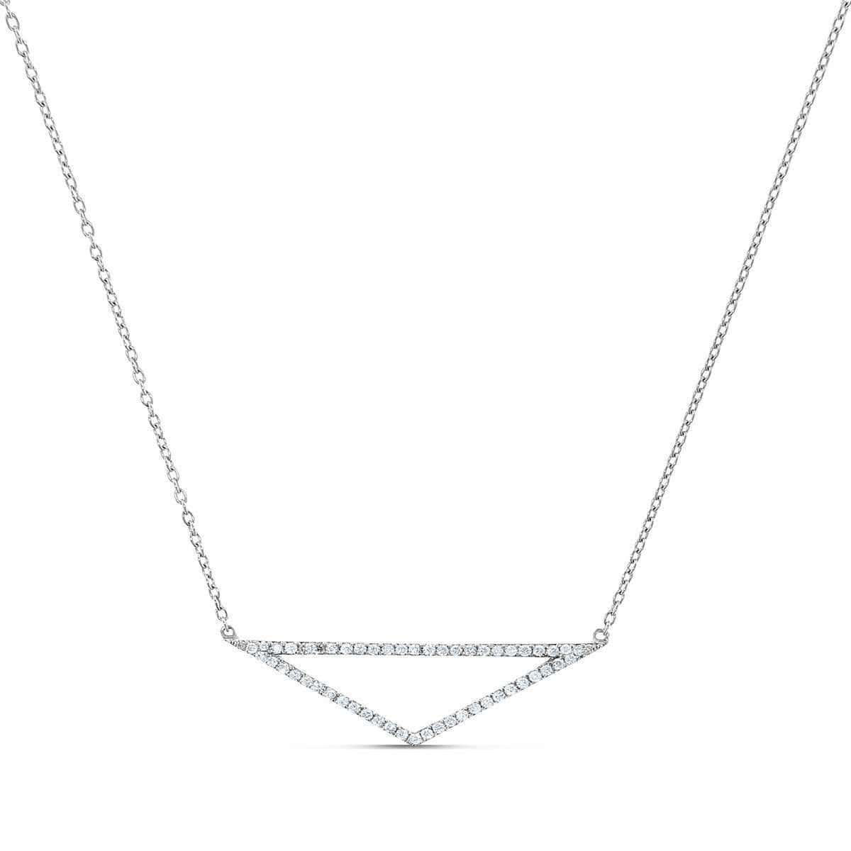 18kt White Gold Triangle Necklace With Diamonds