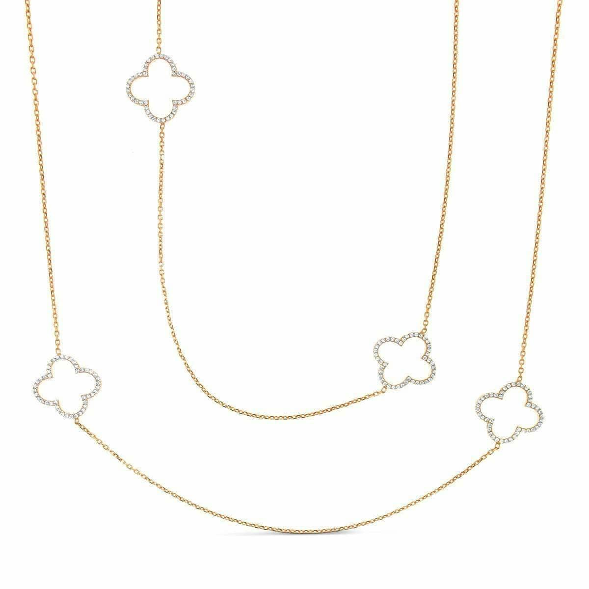 Rhodium Plated Sterling Silver Long Clover Necklace
