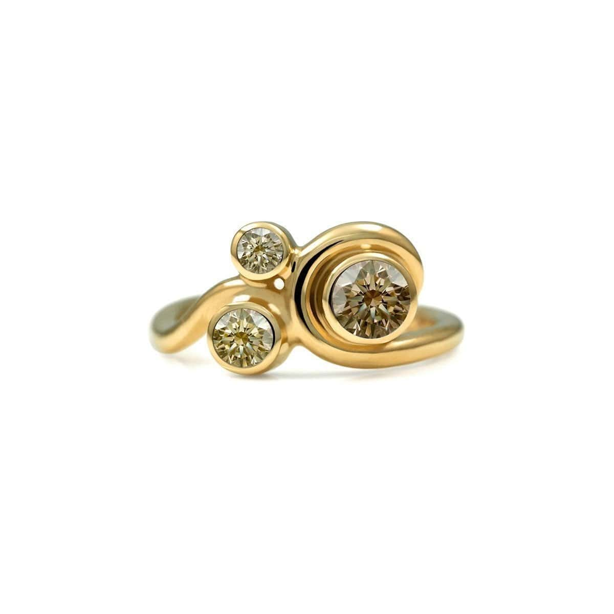 Entwine Three Stone Ring In Gold With Champagne Diamond