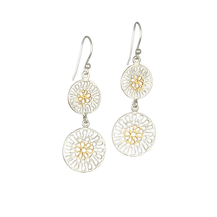 Sterling Silver & Gold Plated Filigree Earrings