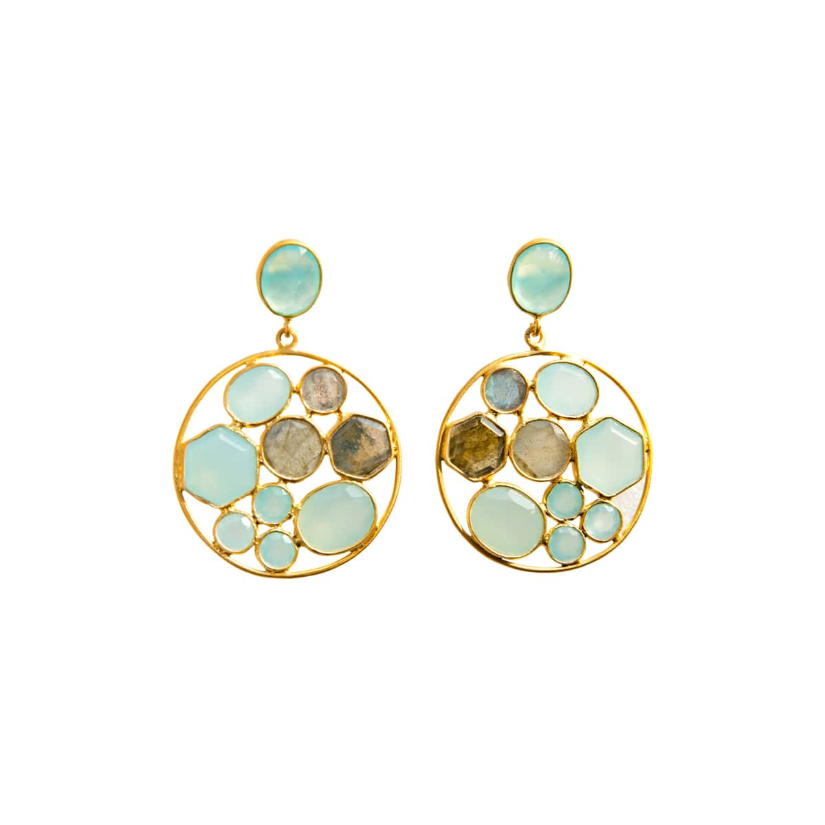 Aqua Chalcedony Statement Cocktail Earrings