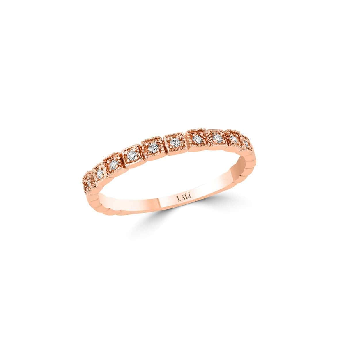 14kt Rose Gold Stackable Ring With 10 Diamonds