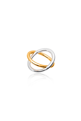 Sterling Silver & Gold Vermeil X Ring