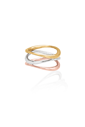 Sterling Silver & Gold Vermeil Vaiven Tricolour Ring