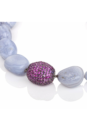 18kt Black Gold Chalcedony & Pink Sapphire Necklace