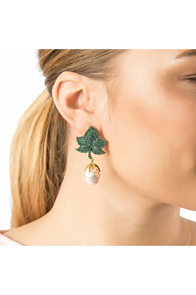 Yellow Gold Plated Baroque Pearl Leaf Earrings