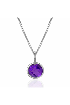 Solo Pendant In Silver With Faceted Gemstone