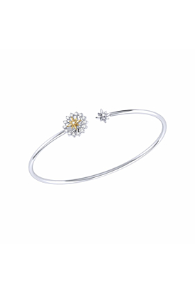 14kt Yellow Gold Plated Silver Two-Tone Starburst Cuff