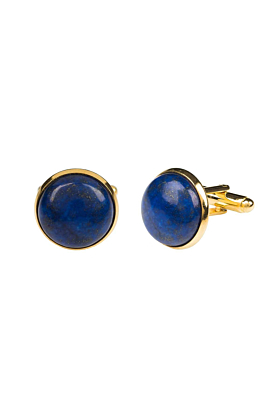 Yellow Gold Plated Round Cabochon Lapis Lazuli Cufflinks
