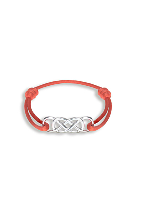 Silver Infinity Ibiza Bracelet With Red Ribbon | INFINITY by Victoria