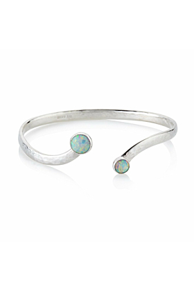Hammered Sterling Silver Bangle With White Opal