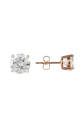 Rose Gold Plated Solitaire White Cubic Zirconia Earrings