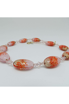Murano Glass Bead Open Heart Necklace