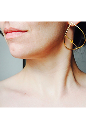 24kt Gold Plated Silver & Yellow Citrine Teardrop Earrings