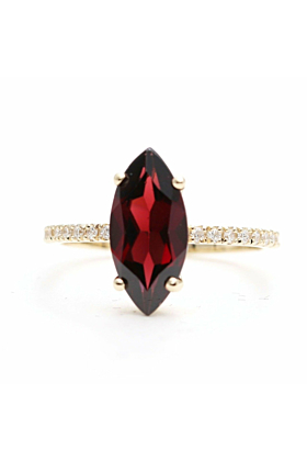14kt Gold High Quality Red Garnet Diamond Engagement Ring