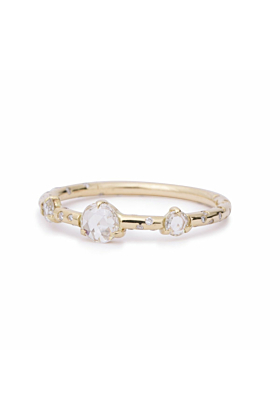 Dew Drop Rosecut Diamond Triplet Ring