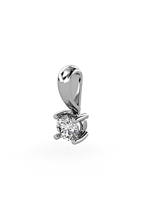 18kt White Gold & Diamond Solitaire Pendant II