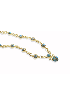14kt Yellow Gold Plated Silver & Turquoise Twisted Rays Necklace
