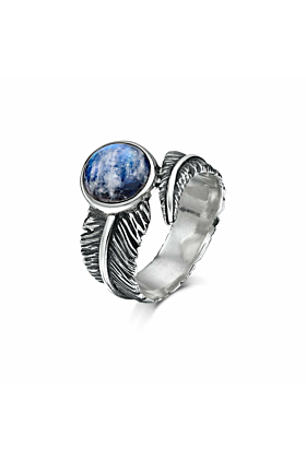 Sterling Silver & Moonstone Feather Ring | Becky Rowe